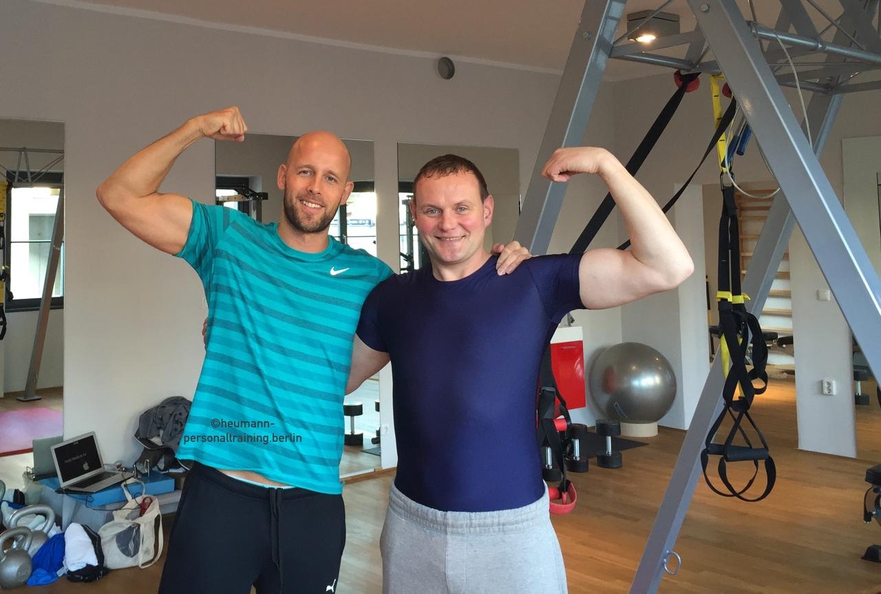 Devid Striesow mit Personal Trainer Andreas Heumann