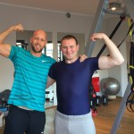 Devid Striesow mit Personal Trainer Andreas Heumann