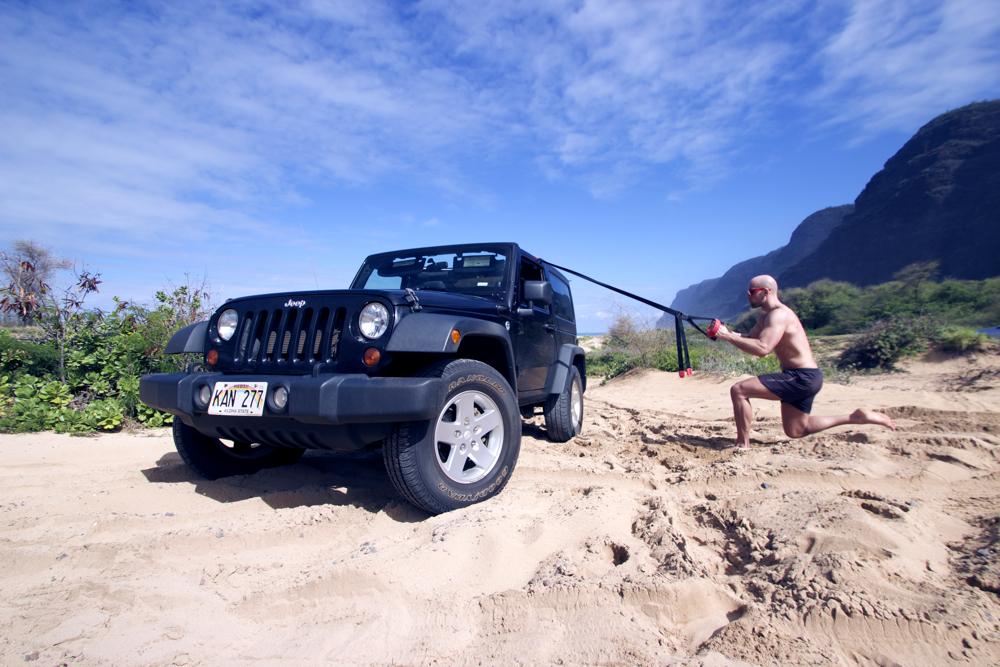 Rudern mit Suspension Trainer - Am Strand von Kauai, Hawaii